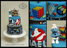 cake with Pacman, Smurfs, Simon, Rubik's Cube & Ghost Busters. 80s Party, Eighties Party, Decade Party, Cupcakes, Cupcake Cakes, Beautiful Cakes, Amazing Cakes, Tea Bag Cookies, Cupcake Boutique