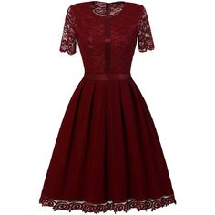 Dark Red Hollow Lace Crochet Round Neck Short Sleeve A Line Party... (£22) ❤ liked on Polyvore featuring dresses, lace a line dress, crochet lace dress, dark red dress, short-sleeve dresses and red short sleeve dress