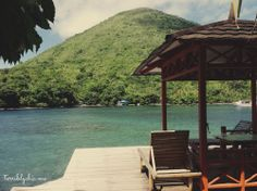 a cute home stay overlooking an active volcano in Banda Neira, Maluku, Indonesia