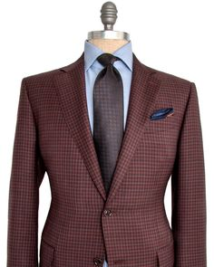 Ermenegildo Zegna | Burgundy Check Sportcoat | Apparel | Men's