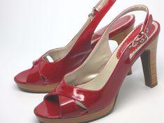 High Gloss Red Madeline Slingback Platform Stiletto, Women's US size 7.5 M #Madeline #Slingbacks