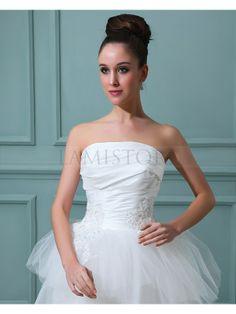 Amazing A-line Strapless Asymmetrical Organza Wedding Dress : Lamistore.com