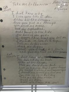 "Al Green's handwritten lyrics for ""Take Me to the River."" Via Pete Turchi."
