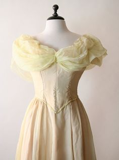 Vintage Prom Dress  Sheer Lemon Yellow Theater Costume by zwzzy,