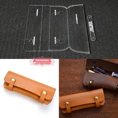 Items similar to Acrylic Stencil 1 Set Leather Template Handwork Leathercraft Sewing Pattern Tools Accessory Pencil box pencil case on Etsy Leather Tooling, Leather Wallet, Leather Bag Tutorial, Purse Tutorial, Leather Pencil Case, Pencil Boxes, Leather Projects, Leather Crafts, Wallet Pattern