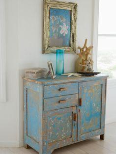 vintage möbel selber machen hellblau kommode