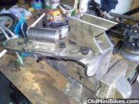 Homemade tube notcher constructed from steel stock, bushings, shafting, and a hole saw. Homemade Tube, Homemade Tools, Steel Stock, Steel Plate, Workshop, Plates, Welding, Garage, Ideas