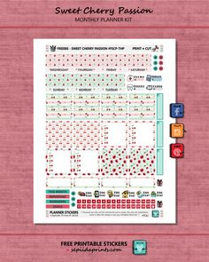 Free Printable Sweet Cherry Passion Planner Stickers from Sepiida Prints