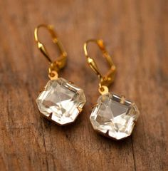 Dangle Earrings Estate Style Vintage Clear Crystal Earrings - Amelia