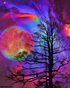 Colorful Galaxy colorful art trees abstract moon painting galaxy