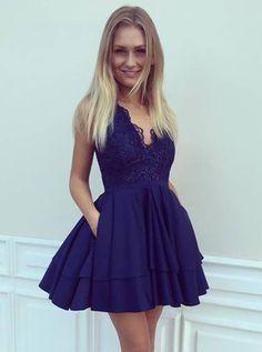 elegant dresses, royal blue dresses, lace applique homecoming dresses, straps homecoming dresses, A-line homecoming dresses, short prom dresses, party dresses, formal dresses#SIMIBridal #homecomingdresses