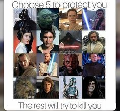 Chewbacca, Darth Vader, Luke, Obi-Wan, and Darth Maul. I basically just chose everyone with a lightsaber lol