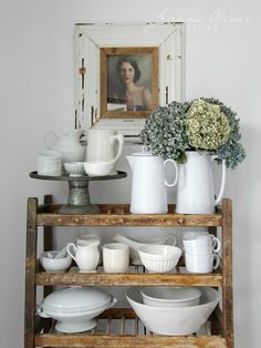 Fall Kitchen and Recipe Tour - collection of ironstone - Jeanne Oliver Mantel Styling, Kitchen Dining, Kitchen Decor, China Kitchen, Kitchen Display, Crazy Home, Dish Display, Farmhouse Chic, White Farmhouse