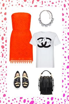 This outfit is a cheeky way to dress down a more formal frock. Hint: Wear the T-shirt underneath. The fun graphic peeking out just drives home your mishmash point.