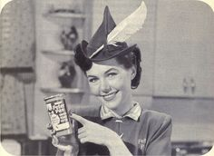 Peter Pan Peanut Butter ad, 1957 (her costume is adorable!). #vintage #1950s #food #ads