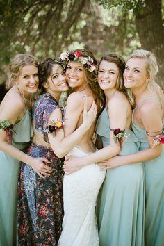 bohemian bridesmaid fashion, photo by Our Love is Loud http://ruffledblog.com/river-bend-colorado-wedding #weddingfashion #bride #bridesmaids