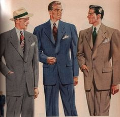 1940's- Men wore long suits made of rationed material. Jackets were oversized and long, large lapels.
