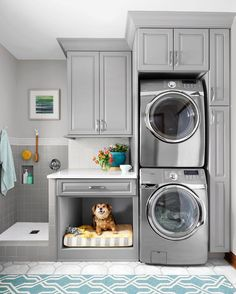 A simple rearrangement of task areas takes advantage of vertical space to make cleanup easier for both two- and four-legged family members. laundry room ideas small layout Home Improvement and Remodeling - This Old House Laundry Room Layouts, Laundry Room Design, Laundry In Bathroom, Basement Laundry, Laundry Closet, Ikea Laundry, Laundry Sorter, Garage Laundry, Bathroom Plumbing
