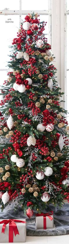 Christmas tree Red & White #xmastreedecorations
