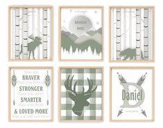 """Deers and Turkeys Poster 30/"""" x 8.5/"""" Personalized Custom Name Painting Printing"""