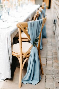 Blue organza chair decor for rustic style wedding. Image by Natalie Pluck Photography Blue Wedding Decorations, Wedding Themes, Wedding Ideas Blue, Pastel Blue Wedding, Wedding Poses, Rustic Blue, Rustic Style, Dusty Blue Weddings, Wedding Chairs