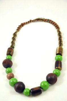 Woodstock Necklace with vintage brass beads