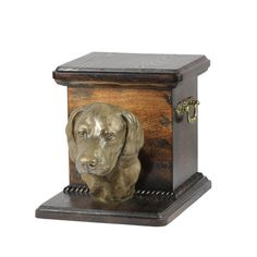 Dachshund smoth haired UK- kind3 dog urn made of cold cast bronze ArtDog