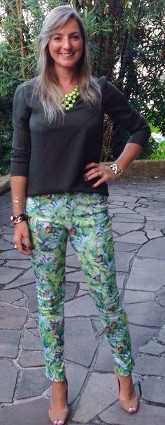 Look do dia - look de trabalho - moda corporativa - casual friday - green - verde - calça estampada