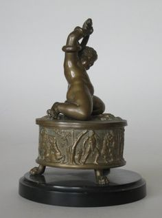 19th c. bronze figural ink well