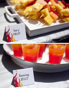 Firetruck Party: Flaming jello and Fiery Fruit - some healthier snacks!