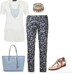 White Tee & Print Pants | Women's Outfit | ASOS Fashion Finder