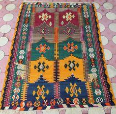 Orange pink green color kilim rug, turkish kilim, handmade rug, faded colors rug, anatolian patterns wool rug kilim 7'5''x67'' / 230 x 171cm