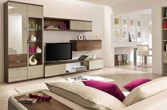 Artful Storage In Modern Beige Living Room With Purple Accents   Your Home  Design (shared Via SlingPic)