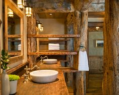 awesome log home bathrooms | ... : Awesome Traditional Bathroom Wooden Vanity Mirror Pond Lodge
