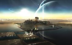 Science-Fiction Großstadt  Science-Fiction Landschaft Terraforming Wasser…