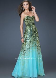 FUN Multi Animal Print Ombre Strapless Prom Dress - La Femme 18293 - RissyRoos.com