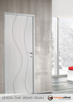Modern white door with wave pattern finish. Tons of unique patterns available, all in custom sizes.