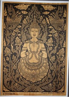 Thai traditional art of Deity by silkscreen printing on sepia paper via Etsy