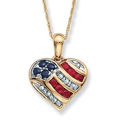 "LOOK CAT, GOTTA LOVE THIS.   10k Gold Blue Sapphire, Diamond Accents and Lab-Created Ruby Patriotic Pendant 18"" chain"