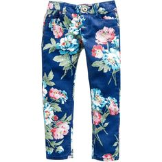 Dusky Blue Floral Jnr pippie Girls Printed Jeans | Joules UK ($5.95) ❤ liked on Polyvore featuring kids and kids clothes