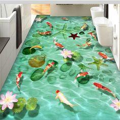 Beibehang Personnalisé 3D parole autocollants Auto adhésif étage pâte Pierre coquillages starfish carp lotus 3D carreaux de sol mur papier dans Fonds d'écran de Amélioration de l'habitat sur AliExpress.com | Alibaba Group