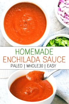 This homemade enchilada sauce is paleo friendly and compliant. It's a super quick and easy recipe to add into your favorite mexican inspired dishes! # quick and Easy Recipes Paleo Enchilada Sauce (Homemade, Easy, - Sauce Enchilada, Recipes With Enchilada Sauce, Homemade Enchilada Sauce, Whole30 Dinner Recipes, Paleo Recipes, Mexican Food Recipes, Real Food Recipes, Mexican Dishes, Fish Recipes