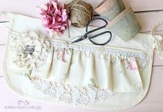 carpenters apron tattered rose and vintage lace