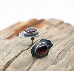 Oval Red Garnet ear studs red stone earrings January