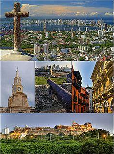 Cartagena, Colombia. Top:View of Santa Cruz Manga Island, Castle Grande, Bocagrande area from Cerrodela Popa, Middle left:Reloj Tower (Torre...