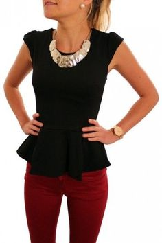 Statement necklace, black peplum, and maroon pants