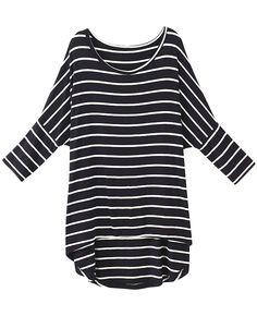 Asymmetric Striped Long-sleeves T-shirt | BlackFive