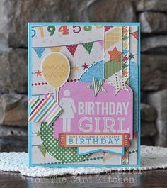 Birthday girl Card by Amy Sheffer via Card Kitchen Kit Club Blog featuring March 2014 Card Kitchen Kit