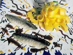 307 |   tagliatelle de mango con sardinas a las cinco especias (El Bulli, 1995, tapa)