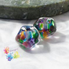 Lampwork Beads Bollywood Rainbow Nuggets by GlitteringprizeGlass for jewellery making   #lampwork #beads #handmade #jewelrydesigns #jewellerymaking #craftsupply #beadsupplier #bollywood #rainbow